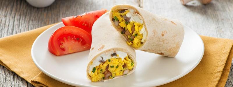 Egg and mushroom burrito