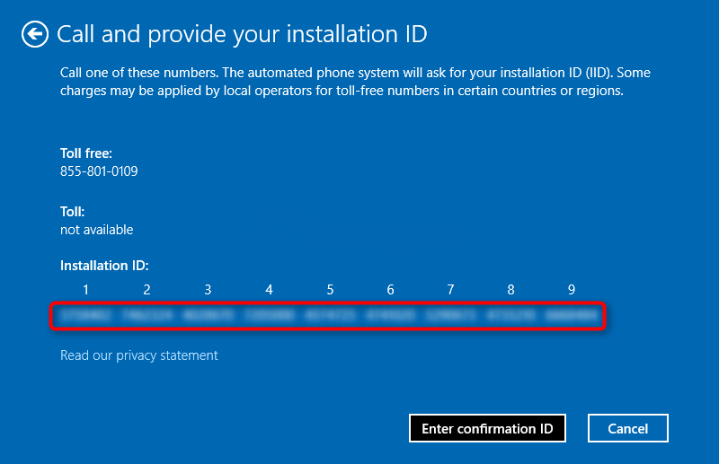 Activate Windows 10 by phone