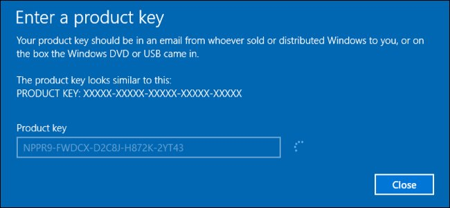 Activate Windows online with the product key
