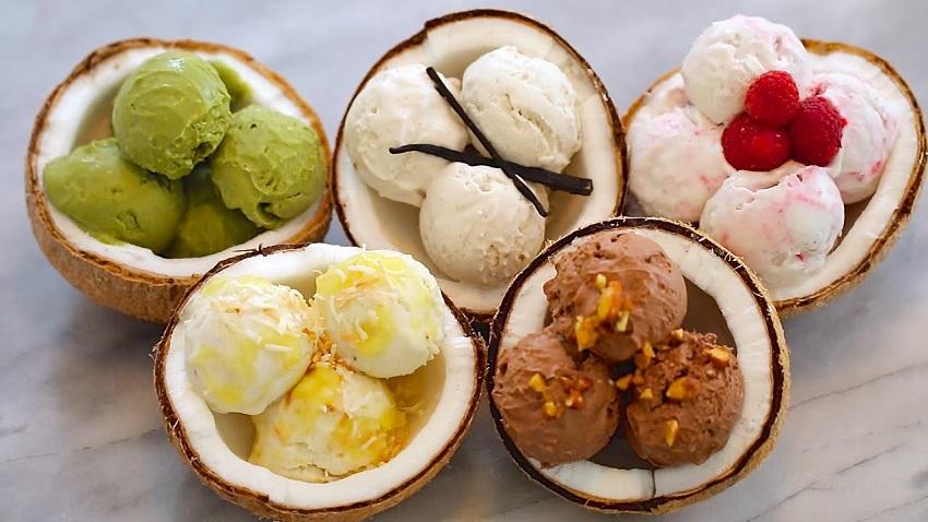 Coconut ice cream with raspberries