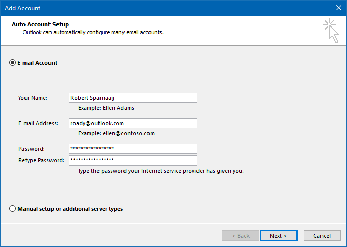 Microsoft account configured in Outlook